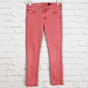 AG Faded Red Stevie Slim Straight Ankle Jeans 28R